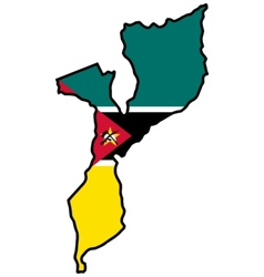 Map in colors of mozambique vector