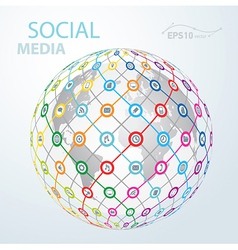 Social media element icon globe worldwide vector