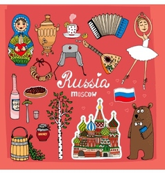 Symbols and icons of russia vector