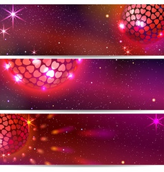 Disco ball with hearts three backgrounds vector