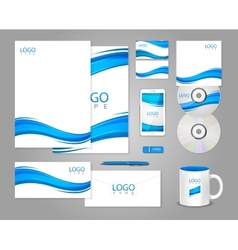 White corporate identity template with blue waves vector
