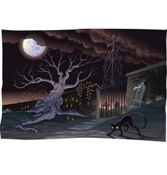 Black cat and cemetery in the night vector