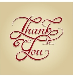 Thank you lettering retro calligraphy vector