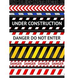 Caution tapes seamless strip warning line vector