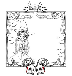 Doodle frame halloween witchbones bats skulls vector