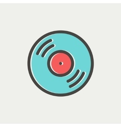 Vinyl disc thin line icon vector