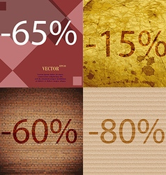 15 60 80 icon set of percent discount on abstract vector
