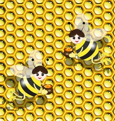 Bees on honeycomb vector