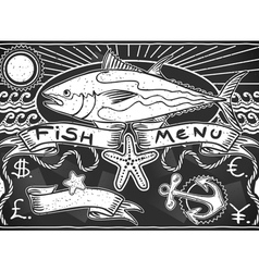 Vintage graphic blackboard for fish menu vector