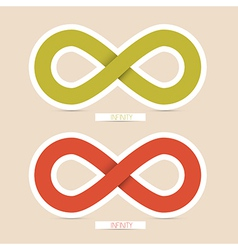 Red and green paper infinity symbols vector
