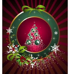 Christmas frame with tree vector