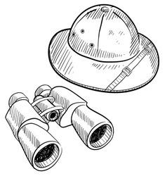 Doodle safari hat binoculars vector
