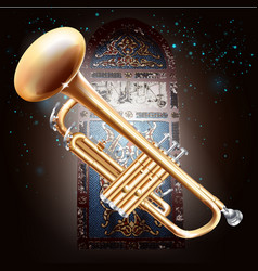 Brass trumpet on stained-glass window background vector