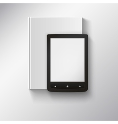 E-book lying on top of book with place for your vector