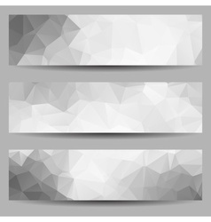 Set of banners with abstract triangles vector