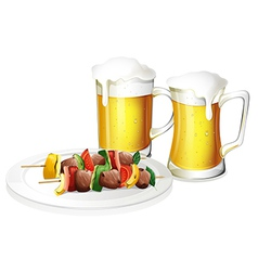 Two glasses of beer with a plate of barbeque vector