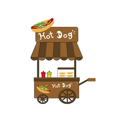 Booth stand hot dog vendor vector