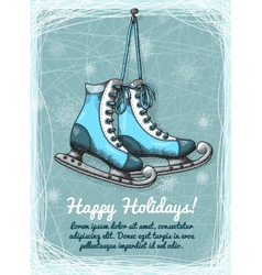 Skate holidays winter invitation vector