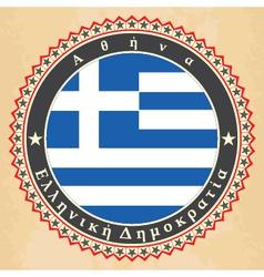 Vintage label cards of greece flag vector