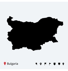 High detailed map of bulgaria with navigation pins vector