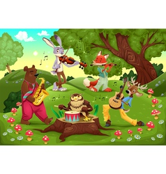 Musicians animals in the wood vector