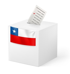 Ballot box with voting paper chile vector