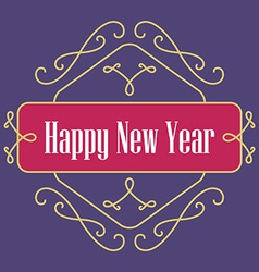 Happy new year monograms festive card lineart vector