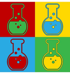 Pop art laboratory glass icons vector