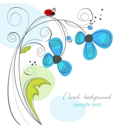 Floral and ladybug background vector
