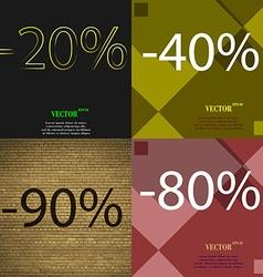 40 90 80 icon set of percent discount on abstract vector