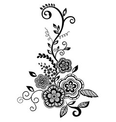 Black-and-white flowers and leaves design element vector