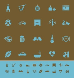 Friday and weekend color icons on brown background vector