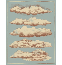 Vintage cloud background design set vector