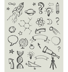 Hand drawn doodles - education science icons vector