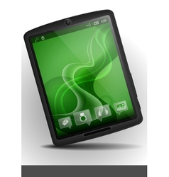 Tablet pc with green wallpaper vector