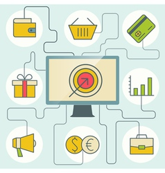 E-commerce and business infographics with computer vector