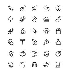 Food and drinks line icons 15 vector
