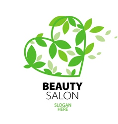 Logo heart of green leaves to the beauty salon vector