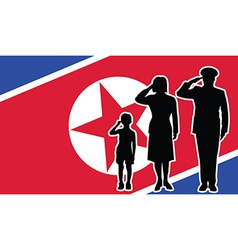 North korea soldier family salute vector