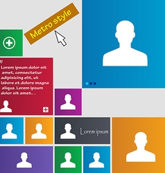 User person log in icon sign metro style buttons vector