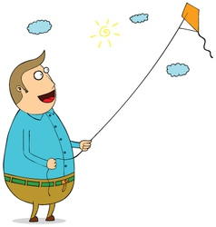 Man with kite vector