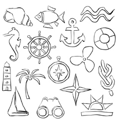 Sketch marine images vector