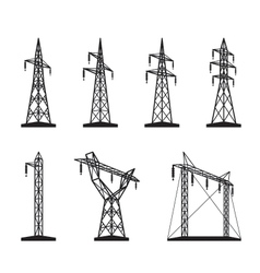 Electrical transmission tower types in perspective vector