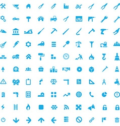 100 construction icons vector