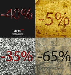 5 35 65 icon set of percent discount on abstract vector