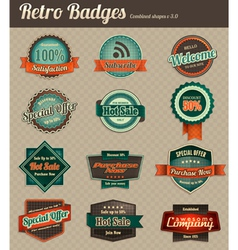 Retro badges combined 3 vector