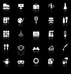 Art activity icons with reflect on black vector