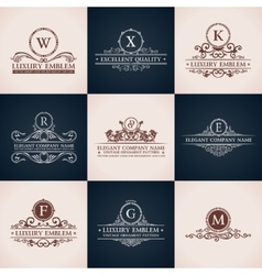 Design logo set calligraphic pattern elegant vector