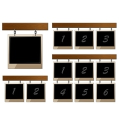 Set of wooden boards with empty frames vector