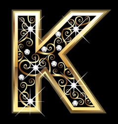 K gold letter with swirly ornaments vector